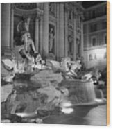 Trevi Fountain Night 2 Wood Print