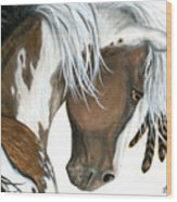 Tri Colored Pinto Horse Wood Print