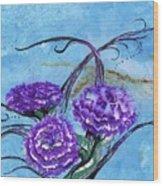 Tri  Flower Bleau Wood Print