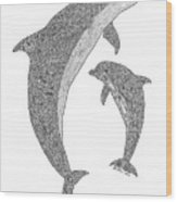 Tribal Bottle Nose Dolphin And Calf Wood Print by Carol Lynne