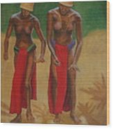 Tribal Dancers Wood Print