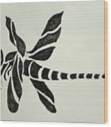Tribal Dragonfly Wood Print by Pete Maier