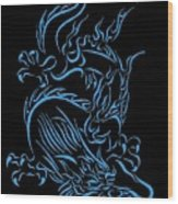 Tribal Line Chinese Dragon 1 Wood Print