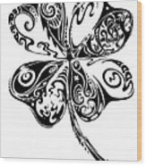 Tribal Shamrock Wood Print