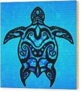 Tribal Turtle Hibiscus Wood Print