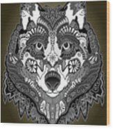 Tribal Wolf Wood Print