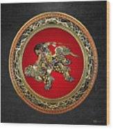 Tribute To Hokusai - Shoki Riding Lion  Wood Print