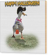 Trick Or Treat For Cap'n Duck Wood Print