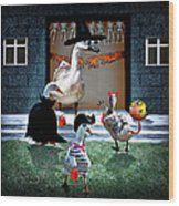 Trick Or Treat Time For Little Ducks Wood Print