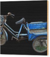 Tricycle In Blue Wood Print