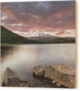 Trillium Lake Sunset Wood Print