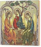 Trinity After Rubliov Wood Print by Iosif Ioan Chezan