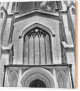 Trinity Episcopal Cathedral Black And White Wood Print