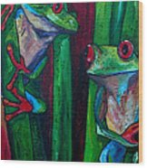 Trinity Of Tree Frogs Wood Print