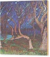 Trinity Tree By Moonlight Wood Print
