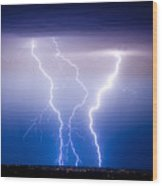 Triple Lightning Wood Print by James BO  Insogna