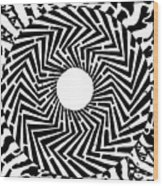 Trippy Optical Illusion Swirly Maze  Wood Print