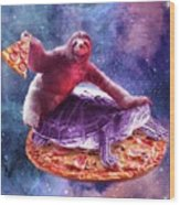 Trippy Space Sloth Turtle - Sloth Pizza Wood Print