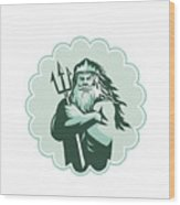 Triton Arms Crossed Trident Rosette Wood Print
