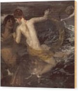 Triton Carrying A Nereid On His Back 1875 Wood Print