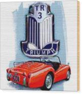 Triumph Tr-3 Red Wood Print