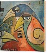 Trois Oiseaux Wood Print