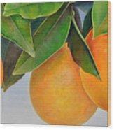 Trois Oranges Wood Print
