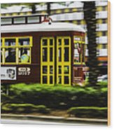 Trolley Car In Motion, New Orleans, Louisiana Wood Print