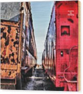Trolley Cars Wood Print