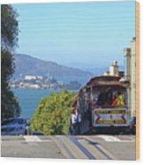 Trolley Descending Into San Francisco Wood Print