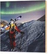 Tromso Winter Skiing Wood Print