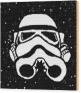 Trooper On Starry Sky Wood Print