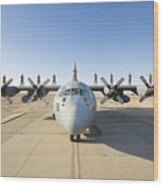 Troops Stand On The Wings Of A C-130 Wood Print