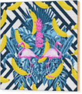 Tropical Banana Pink   Wood Print
