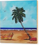 Tropical Beach Scene Wood Print