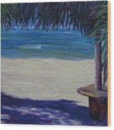 Tropical Beach Shadows Wood Print