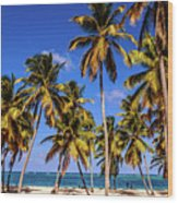 Palms On The Beach Wood Print