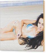 Tropical Beach Woman Wood Print