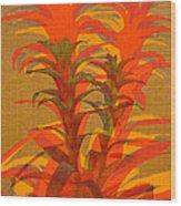 Syncopated Botanicals In Tangerine Orange Wood Print