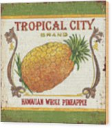 Tropical City Pineapple Wood Print