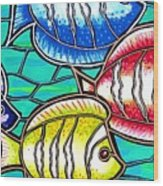 Tropical Fish Swim Wood Print