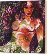 Tropical Flower Girl Wood Print
