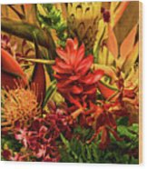 Tropical Flowers Wood Print