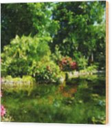 Tropical Garden By Lake Wood Print