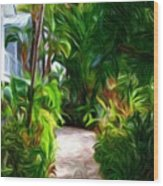 Tropical Garden Passage Wood Print
