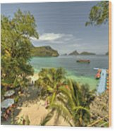 Tropical Harbour Wood Print