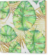 Tropical Haze Blanche Variegated Monstera Leaves, Golden Palm Fronds On Black Wood Print
