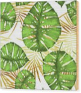 Tropical Haze Green Monstera Leaves And Golden Palm Fronds Wood Print