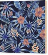 Tropical Leaf Pattern 4 Wood Print