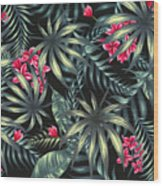 Tropical Leaf Pattern  Wood Print